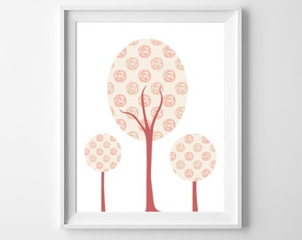 Tree Nursery Art, Pink Decor, Printable Art, Little Girls Room Decor, Abstract Trees