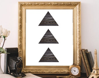 Geometric Art Print, Printable Wall Art, Minimalist Decor, Tribal Style Art,  Triangle Pattern Print