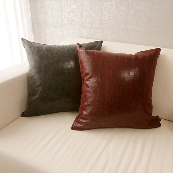 Red Leather Decorative Pillow : Vintage Red Faux Leather Square Accent Throw Pillow by enapremium
