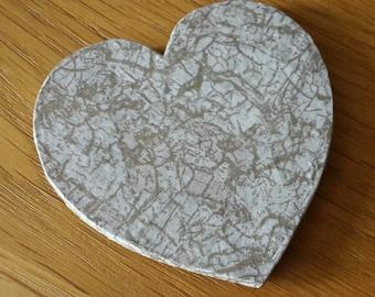 Mini Heart Coaster - Cracked Gold Effect - Papercraft - Hand-Cut Felt Backing - Heart Decoration - Home Decor - Rustic