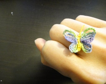 Mini Butterfly Ring. Crochet Ring. Colorful Ring
