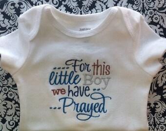 Baby Boy embroidered onesie/bodysuit. Baby gift or baby shower.
