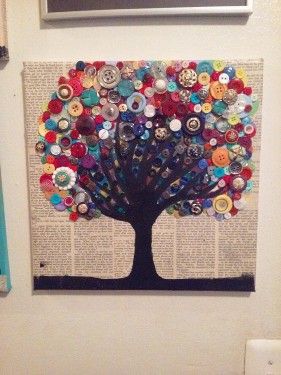 One of a kind multicolored button tree beautiful upcycled for Art craft using waste materials