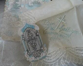Vintage antique Biedermeier little holy picture communion handkerchief shabby JDL