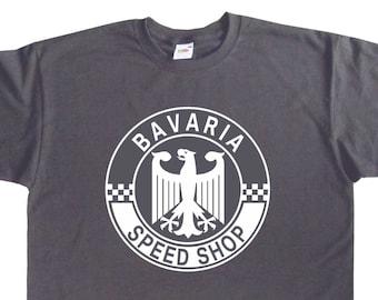 Bavaria Speed Shop German Garage Roundel Tshirt Porsche BMW Mercedes Audi VW Inspired BC62 Various Colours