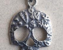 Sterling Silver Sugar Skull Pendant P-30