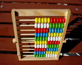 Vintage  Children Wooden Abacus with 100 Beads/ Math, Green , White , Red , Blue, Yellow/Handmade Wooden Abacus/Unused