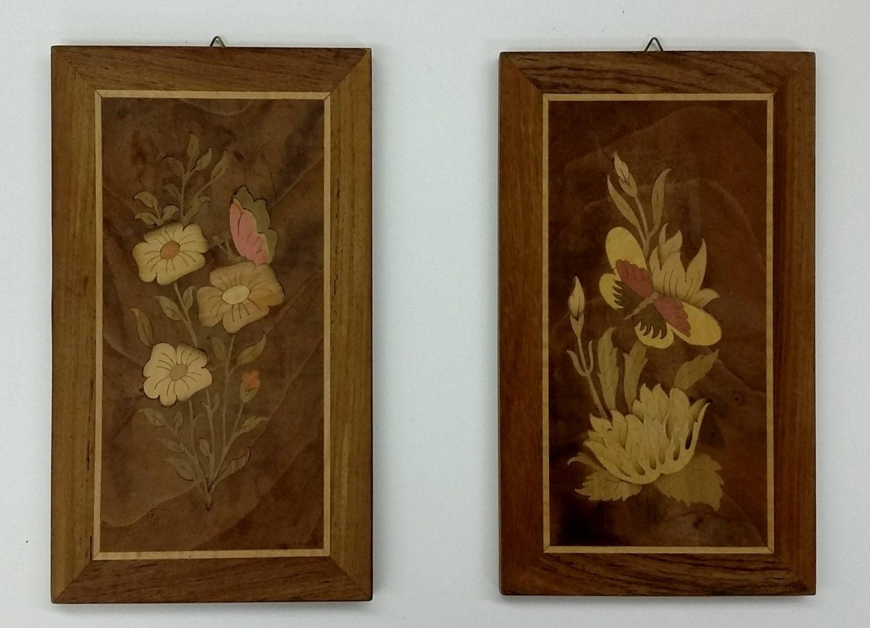 Wood Inlay Wall Decor : Vintage wood italy marquetry inlay pair wall art