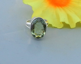 Oval Cut Green Amethyst Gemstone  925 Sterling silver Ring, Green Prasiolite Gemstone Solid Sterling Silver Ring Jewelry
