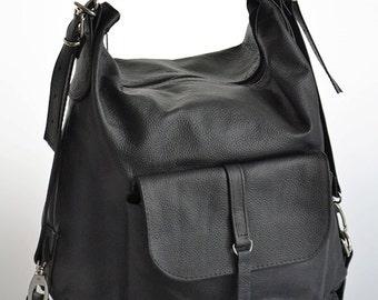 LEATHER BACKPACK PURSE Multi Way Rucksack Tote Bag Black Leather Shoulder Bag.