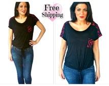 FREE* SHIPPING *Aztec Pocket top, Chevron shirt, Chevron pocket top, Trendy shirts, Aztec shirt, Front tie shirt, geometric print top