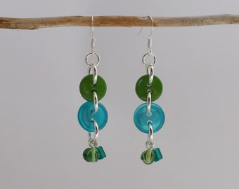Handmade Czech Glass & Button Dangle Earrings