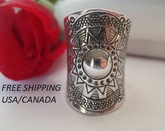 Sterling silver boho ring; gypsie ring