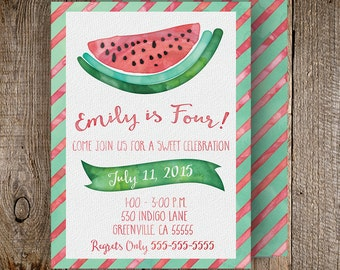 Watermelon Invitation Front and Back - 5x7 Customized Printable modern watercolor preppy birthday party summer rustic stripes green red pink