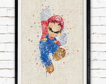 Super Mario Poster, Watercolor Print, Burlap Print, Children's Room Wall Art, Minimalist Home Decor, Gift, Not Framed,Buy 2 Get 1 Free! NA21