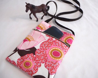 Clearance price.Floral  pink mini crossbody with adjustable strap. Handmade by RiverPurseWorks