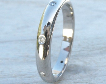 Diamond Eternity Ring in 18k White Gold - Eco Friendly - Handmade to Size