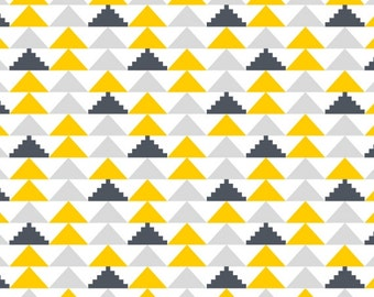 Cotton Fabric Geometric IV - Grey, Yellow, White - Last Yard!