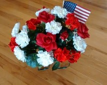 Patriotic, Red Roses, White carnations, Red Geraniums Cemetery Headstone Saddle With Small Flag! Memorial Day, Mother's Day, Father's Day