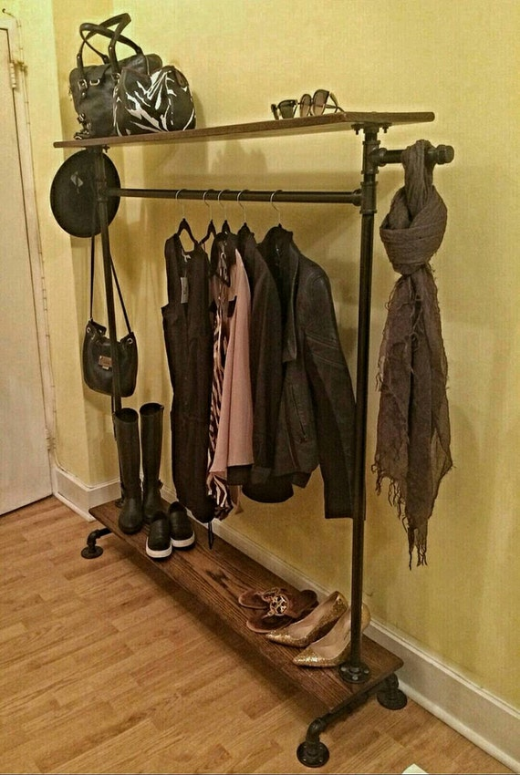 Industrial pipe and oak clothing rack