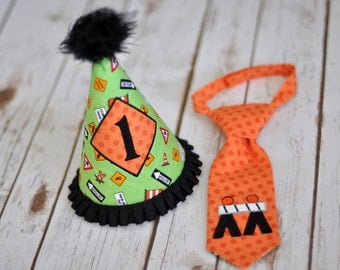 READY TO SHIP - Construction Road Signs Party Hat and Little Guy Tie - Road Construction Signs Birthday Party Cake Smash Outfit