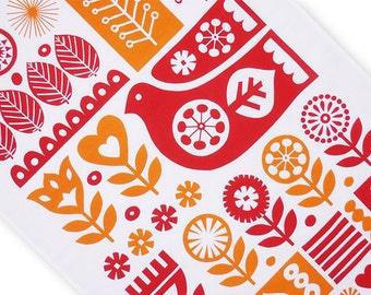 Scandinavian Bird and Flowers Tea Towel, Scandinavian Kitchenware, Retro Kitchenware, Scandinavian Tea Towel, Fran Wood Design - FREE P&P!