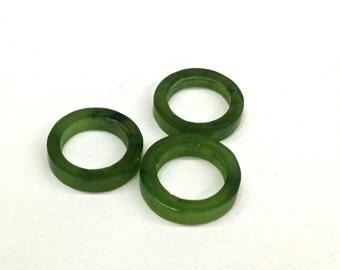 6 Pieces Vintage 10mm Genuine Wyoming Jade Hoops, Rings