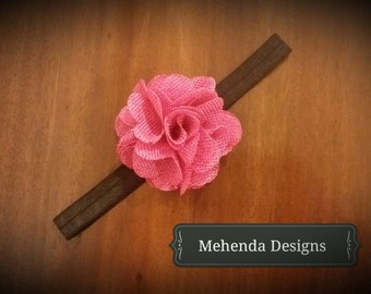 Newborn headband.Baby girl headband.Toddler headband.Pink burlap flower headband