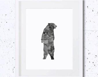 Black Bear, Bear Silhouette, Bear, Art Print, Nursery Animal Print, Printable Art, Downloadable Print, Wall Print