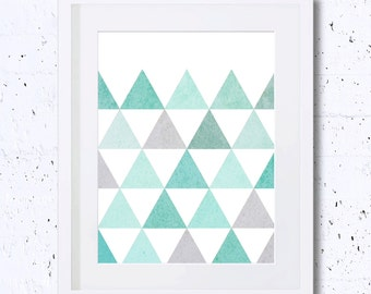 Triangles,Triangle Geometry Print,Minimalist,Repetition,Abstract,Mint,Green,Art Print,Printable Art,Downloadable,Minimal Art,Simplicity