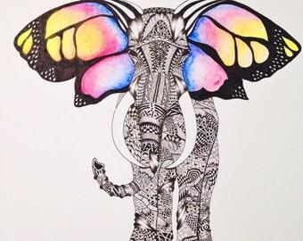 Zentangle butterfly eared elephant