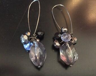 Multi blue colored stone drop earrings