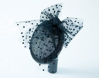 Fascinator black polka dots