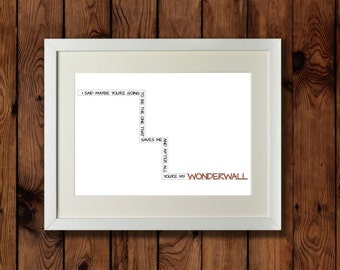 Oasis Wonderwall Lyrics Typography Print / Orange and Black Blueprint / Oasis Quote / Wonderwall Quote / Oasis Lyrics Orange
