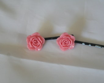 light pink rose bobby pins-bobby pins-flower bobby pins-rose bobby pins