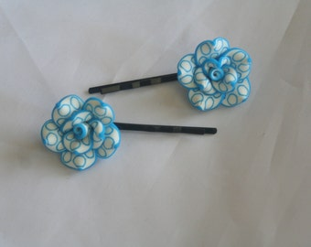blue & white flower bobby pins-flower bobby pins-bobby pins