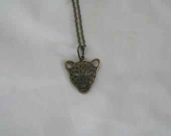 leopard necklace-leopard jewelry- leopard jewelry necklace-leopard bronze necklace