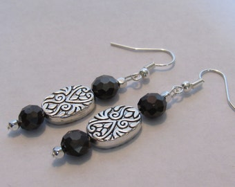 Silver & Thunder Polished Crystal Earrings