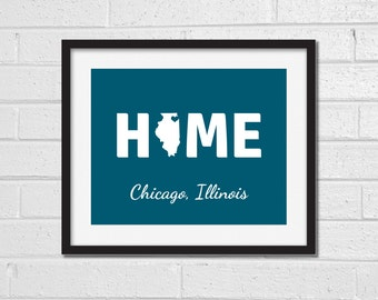 Illinois Home Map Print - Any City - Home Print - Custom Map Print - Illinois - Dorm Room - Chicago Bloomington Springfield Rochelle