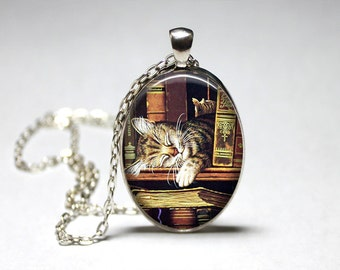Book  Jewelry Book Cat Pendant Book Necklace Book Club Gift Librarian Gift Teacher Gift