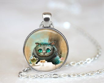 Cheshire Cat Necklace, Cheshire Cat Jewelry, Cheshire Cat Pendant,Alice in Wonderland Necklace