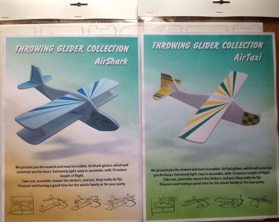 DIY plane Foam Airplane Toy Handmade toys Gift for a boy Funny Outdoor Game Aeroplane Flying Blue Yellow planes Boys room decor Mobile Set 2