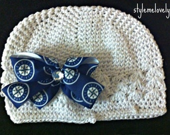 Seattle Mariners Baby girl Boutique Bow Crocheted hat