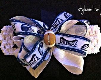 Philadelphia Eagles Baby girl Boutique Bow Crocheted Headband