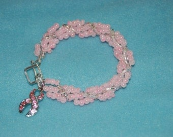 Spiral Rope Chain Seed Bead Bracelet-Breast Cancer Ribbon