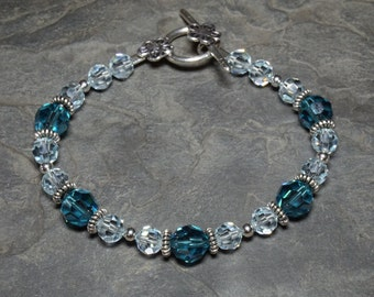 Indicolite and Light Azore Swarovski Crystal with Sterling Silver 7.25 Inch Bracelet