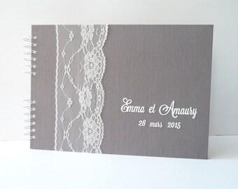 Livre d'or mariage 50 pages - lin gris et dentelle