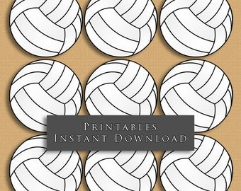 "2.5"" Volleyball Printable Cupcake Toppers Sports Theme Birthday Party DIY Printable INSTANT DOWNLOAD"