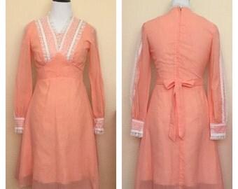 SALE 1960s Vintage Orange Long Sleeved dress with Lace details Sz  Medium