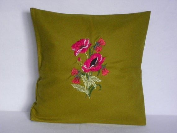 Mustard Throw Pillow Covers : Mustard Green Pillow Cover Throw Pillow 16x16 by YourHomeMarket
